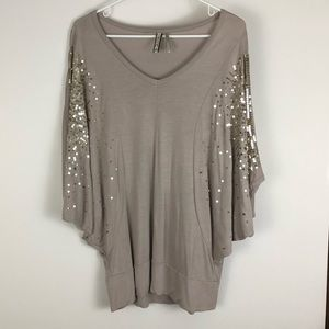 KISCHE xl taupe blouse with sequin detail